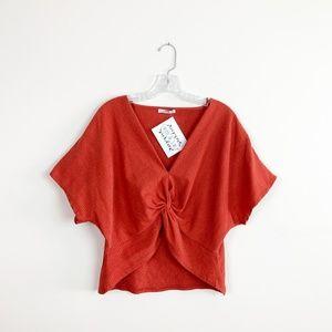 Zara | gauze tie front crop top orange size large